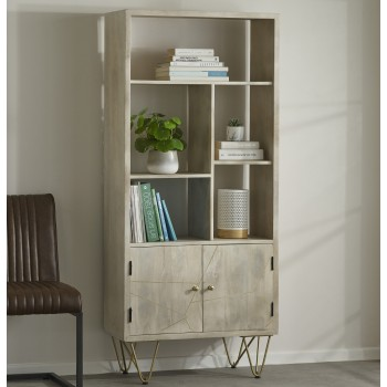 Multi shelf bookcase with Doors Dallas Light Mango