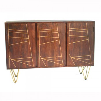 Large Sideboard with 3 Doors Dallas Dark Mango
