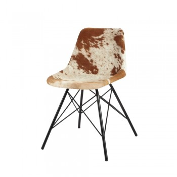 Industrial Style Dining Chair With Cowhide Leather Seat