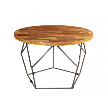 Round Coffee Table with Metal Base