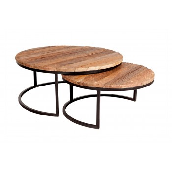 Set of 2 Coffee Tables Railway Sleeper Wood