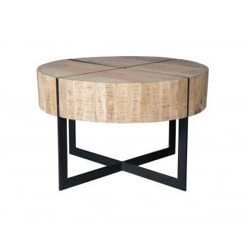 Reclaimed Solid Wood and Metal Round Coffee Table