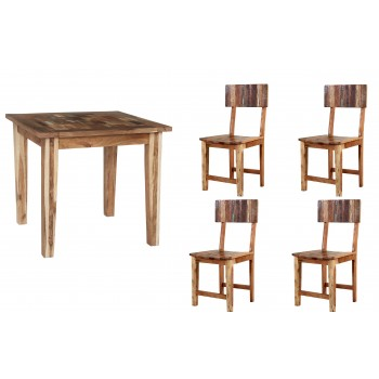 Reclaimed Boat Small Dining Table Set with 4 Chairs