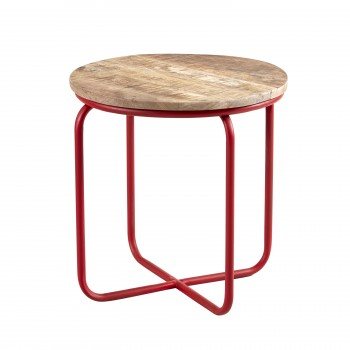 Round Bar Stool made from Reclaimed Metal and Solid Wood
