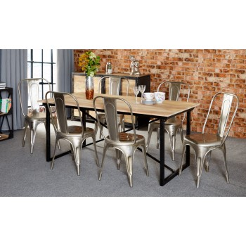 Mintis Upcycled Industrial 180cm Seater Dining Table Set with 6 Metal Silver Chairs
