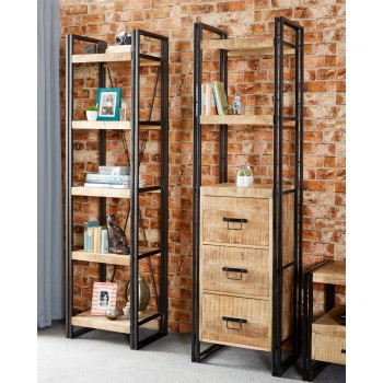 Up cycled Industrial Mintis Narrow Open Bookcase