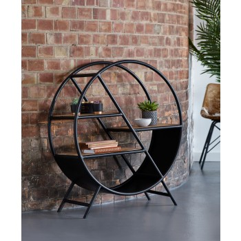 Upcycled Industrial Mintis Iron Wooden Round Bookcase