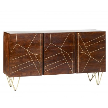 Large Sideboard with Doors and Drawers Dallas Dark Mango
