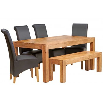 Dakota Light Mango 6 FT Dining Set with Bench & 4 Leather Chairs