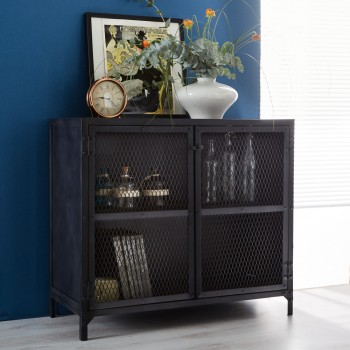 Henry Dark Metal  2 Door Small Sideboard