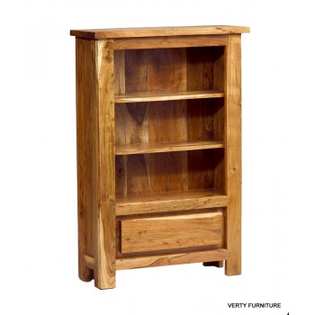 Acacia Chunky Top Low Bookcase with drawer