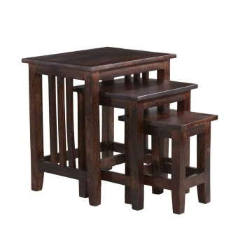 Dark Mango Wood Large Nest of 3 tables
