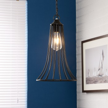 Iron-Cone Cage Hanging Lamp