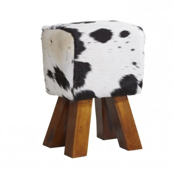 Solid Wooden Legs Stool covered in Genuine Cowhide Leather - Dark