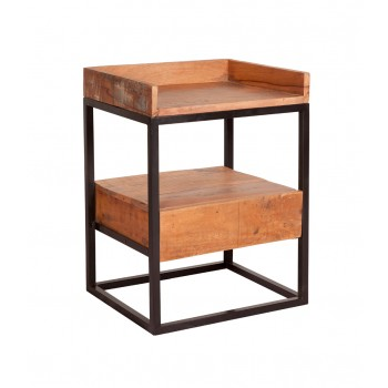 Reclaimed Wood and Metal Limited Edition Bedside Table