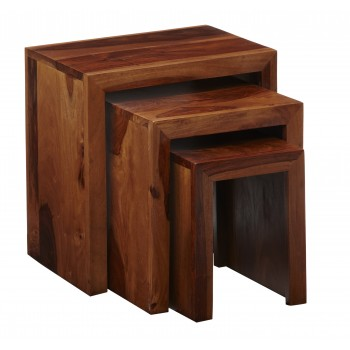 Cube Indian Wood  Nest of 3 Tables