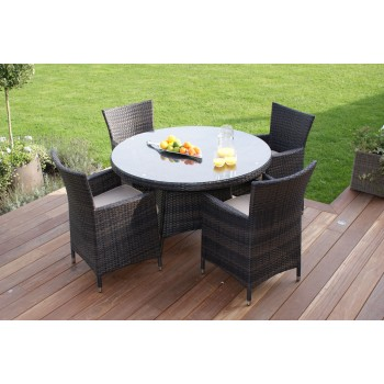 Chelsea 4 Seat Round Dining Set / Brown