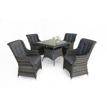 Escape 4 Seat Square Dining Set with Square Chairs
