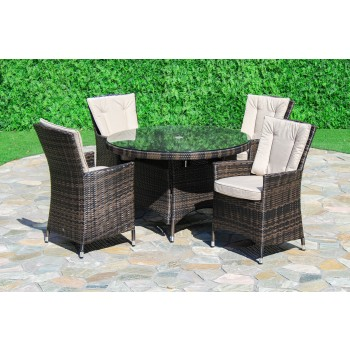 Beverly 4 Seat Round Dining Set / Brown