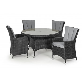 Beverly 4 Seat Round Dining Set / Grey