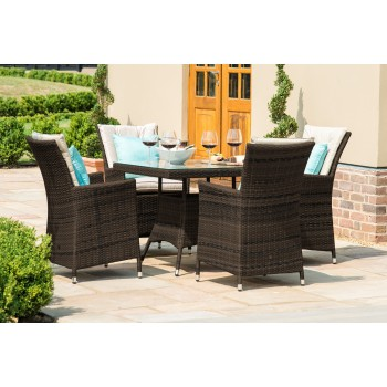 Beverly 4 Seat Square Dining Set / Brown