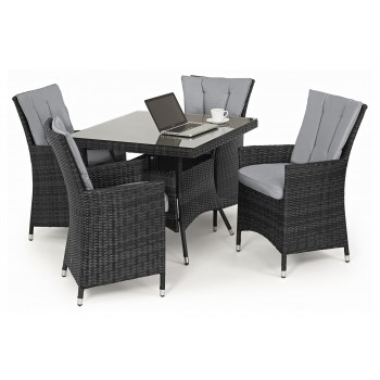 Beverly 4 Seat Square Dining Set / Grey