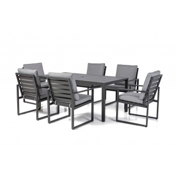 Sorento Black 6 Seat Rectangular Dining Set with Slatted Chair