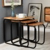 Retro Metal & Wood Pipe Set of 3 Nested Tables