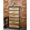 Upcycled Industrial Vintage Mintis Tall Chest of Drawers