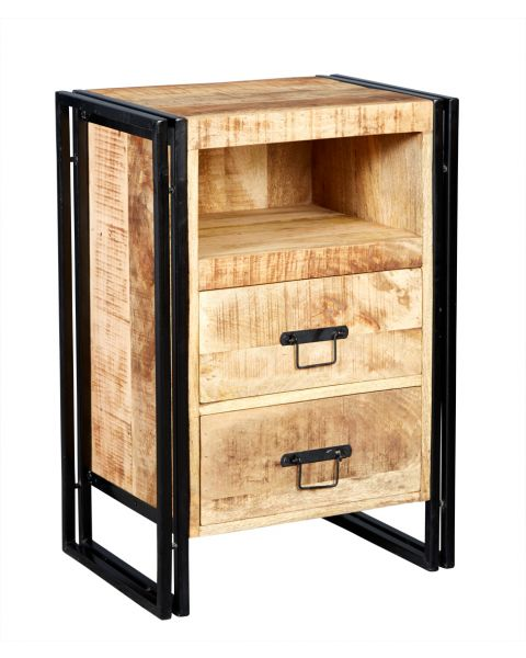 Upcycled Industrial Vintage Mintis 2 Drawer Chest/Bedside Table