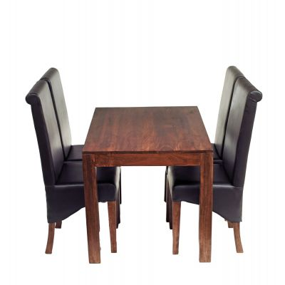 Dakota Mango 4 Ft Dining set with Leather Chairs