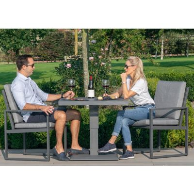 Amalfi 3 Piece Bistro Set with Rising Table in Grey