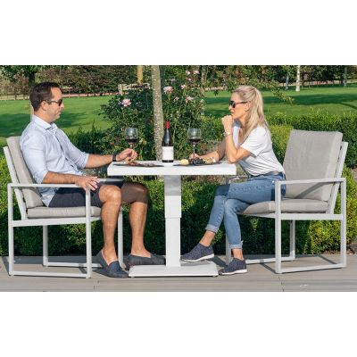 Amalfi 3 Piece Bistro Set with Rising Table in White