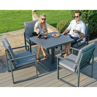 Amalfi 4 Seat Square Dining Set with Rising Table in Grey