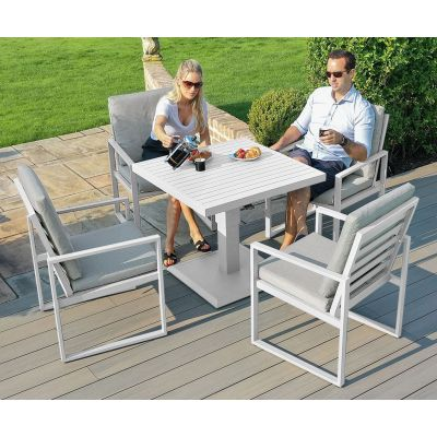 Amalfi 4 Seat Square Dining Set With Rising Table in White