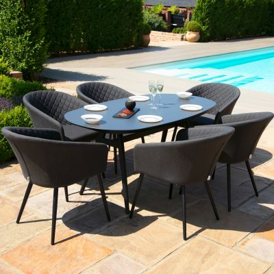 Abbie 6 Seat Oval Dining Set / Charcoal