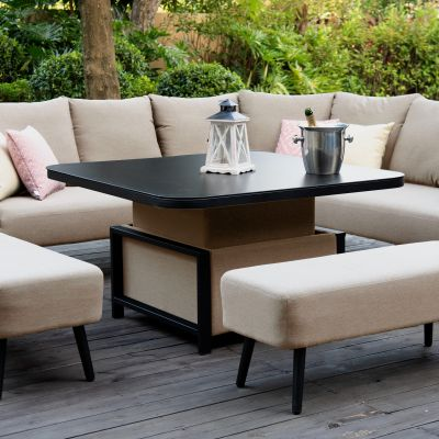 Abbie Square Corner Dining Set with Rising Table / Taupe