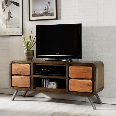Retro Metal & Wood TV Cabinet
