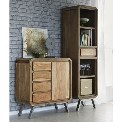Retro Wood & Metal Slim Bookcase