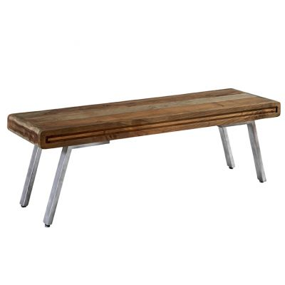Retro Wood & Metal Dining Bench