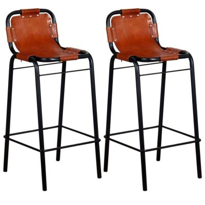 Set of 2 Bar Stool made from Reclaimed Metal with Leather Seat