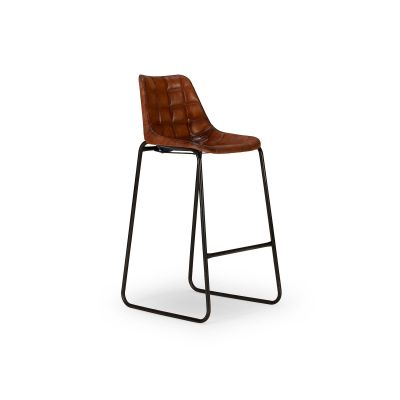 Reclaimed Metal and Genuine Brown Leather Bar Stool