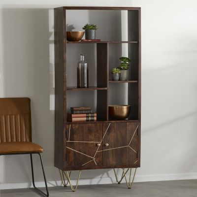 Multi shelf bookcase with Doors Dallas Dark Mango