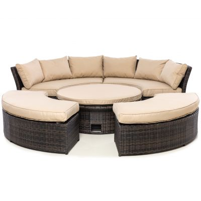 Cameron Lifestyle Suite with Glass Table / Brown