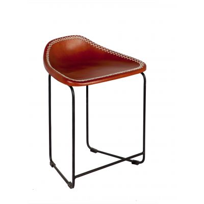 Brown Leather Stool made from Reclaimed Metal