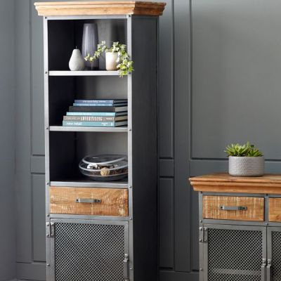 Cosmopolitan Industrial Narrow Bookcase