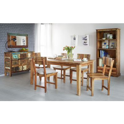 Reclaimed Boat Small Dining Table Set with 6 Chairs