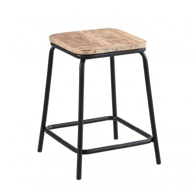 Short Bar Stool made from Reclaimed Metal and Solid Wood