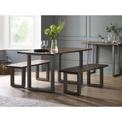Dining Set with 2 Benches Grey Essential Live Edge