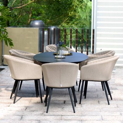 Abbie 6 Seat Oval Dining Set / Taupe